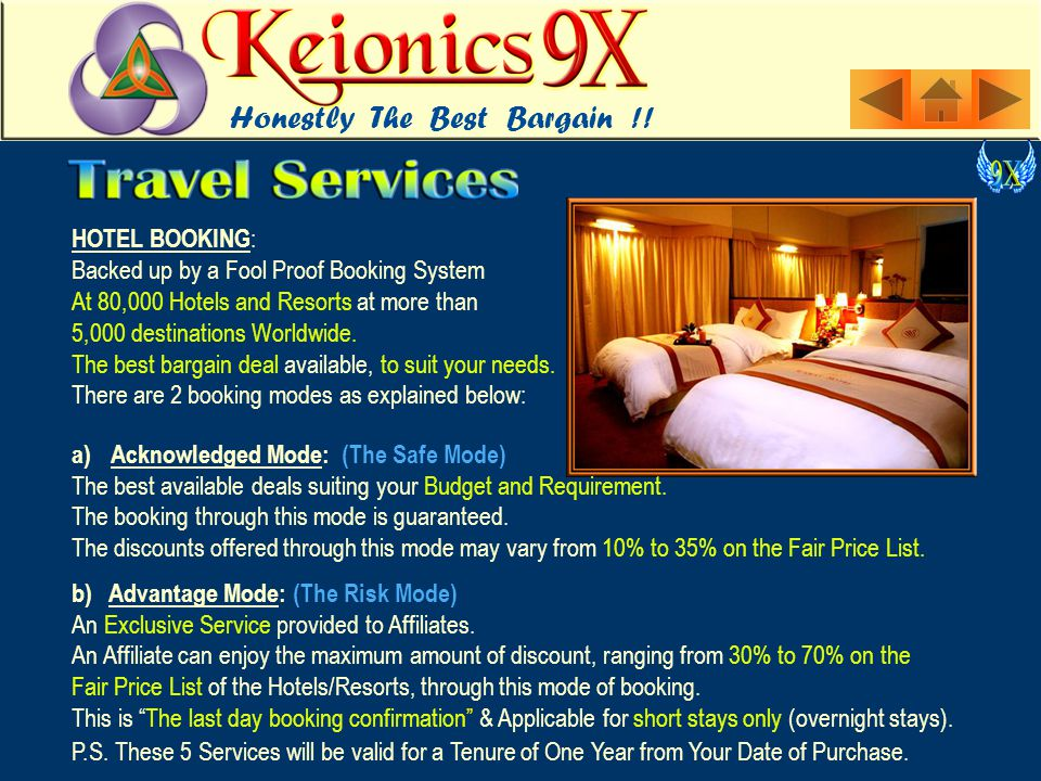 HOTEL BOOKING : Backed up by a Fool Proof Booking System At 80,000 Hotels and Resorts at more than 5,000 destinations Worldwide.