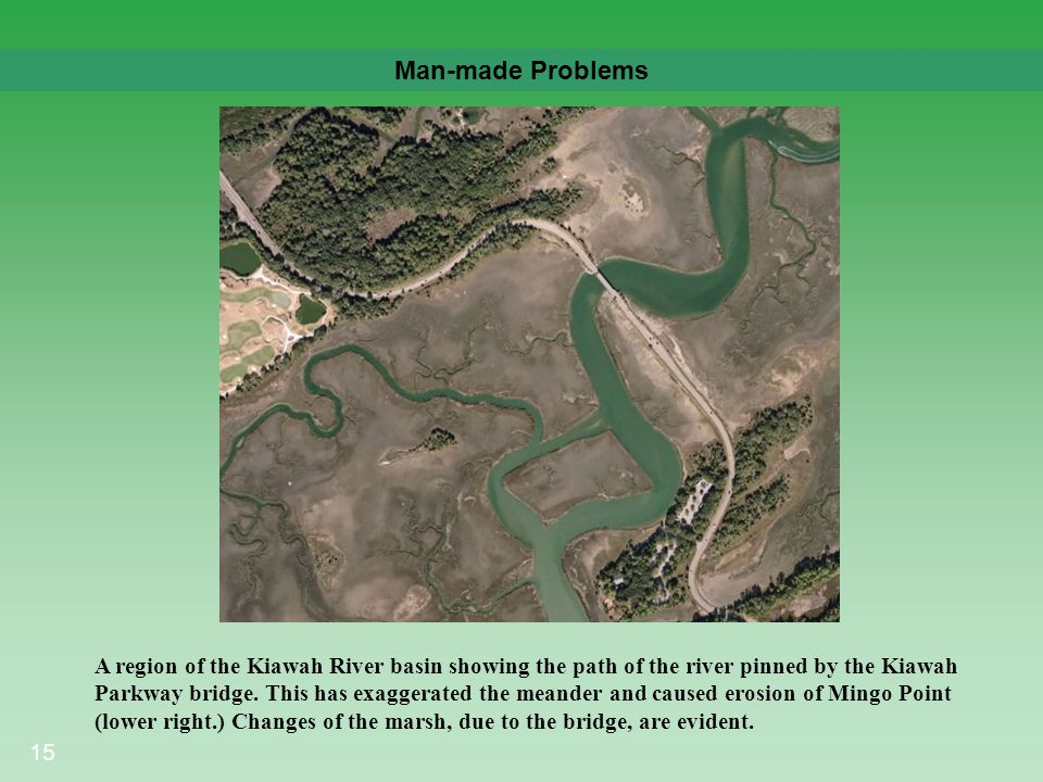 15 Man-made Problems A region of the Kiawah River basin showing the path of the river pinned by the Kiawah Parkway bridge. This has exaggerated the me