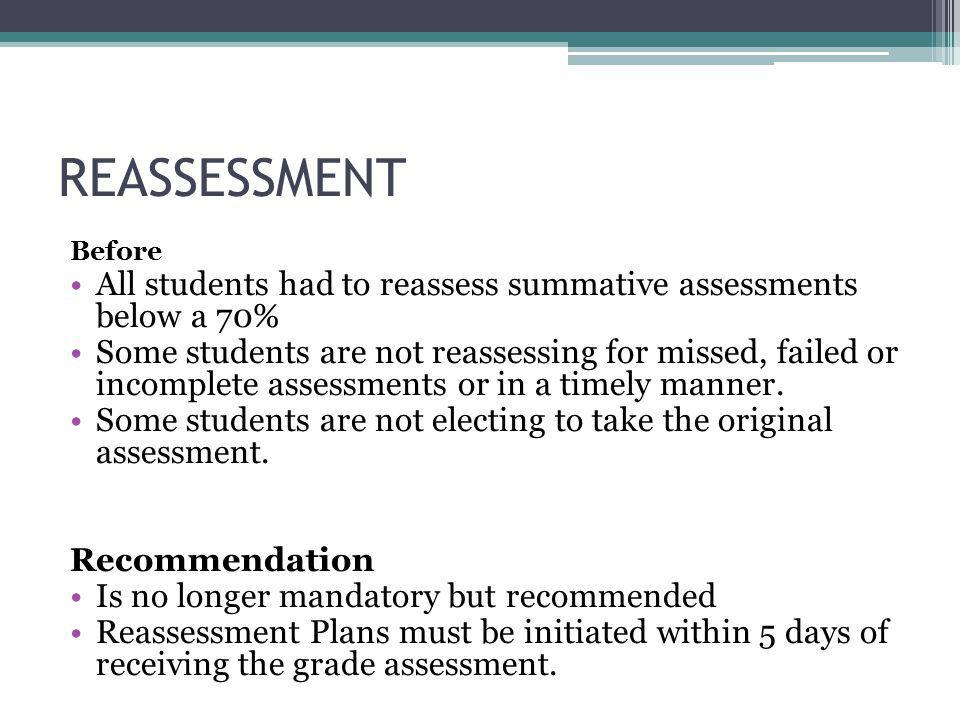 REASSESSMENT Before All students had to reassess summative assessments below a 70% Some students are not reassessing for missed, failed or incomplete assessments or in a timely manner.