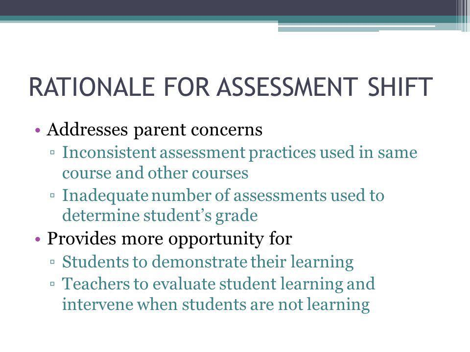 SHIFT IN GRADING Before – Individual teachers determine grading methodology ▫Students taking same course have different requirements ▫Students taking multiple courses have different requirements in each content area After – School-wide grading methodology ▫Formative assessments 10% (during learning period) ▫Summative assessments 90% (end of learning period)