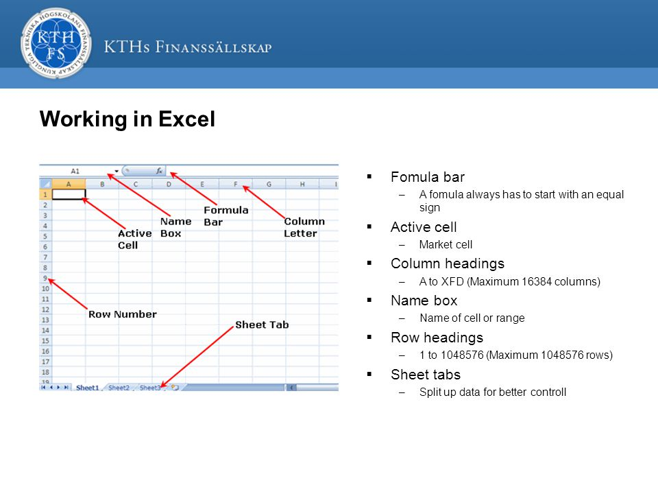 Working in Excel  Fomula bar –A fomula always has to start with an equal sign  Active cell –Market cell  Column headings –A to XFD (Maximum 16384 columns)  Name box –Name of cell or range  Row headings –1 to 1048576 (Maximum 1048576 rows)  Sheet tabs –Split up data for better controll