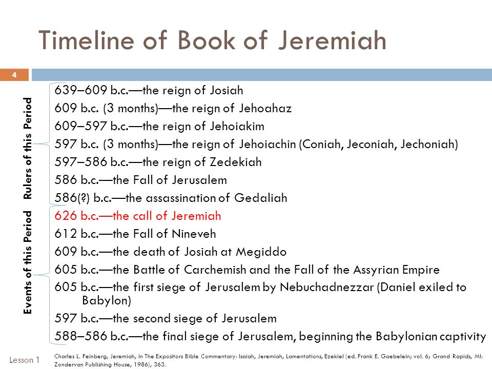 Timeline of Book of Jeremiah 4 639–609 b.c.—the reign of Josiah 609 b.c. (3 months)—the reign of Jehoahaz 609–597 b.c.—the reign of Jehoiakim 597 b.c.
