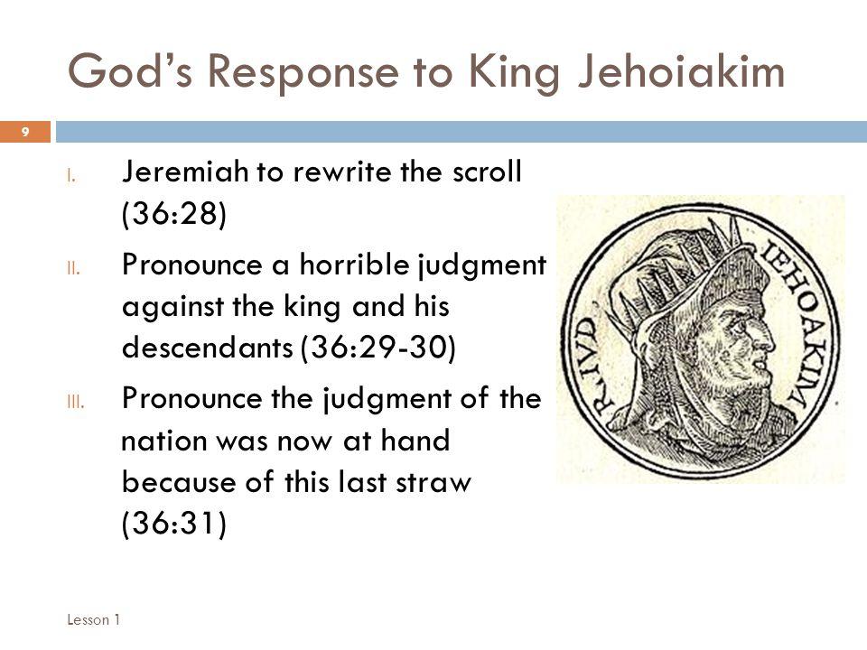 Chronology of Jeremiah's Writing 10 I.