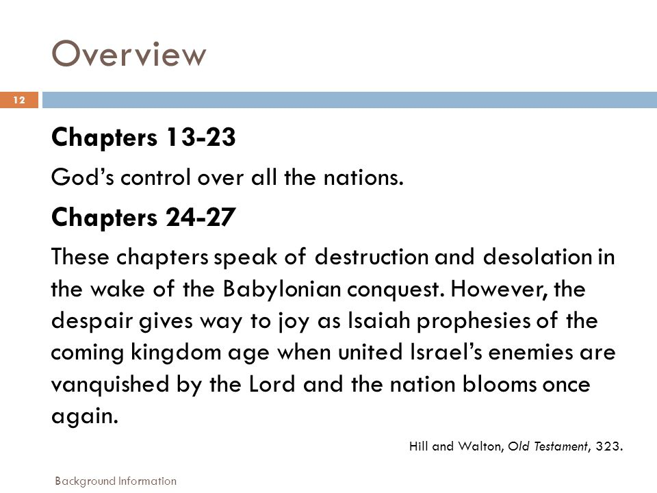 Overview 12 Chapters 13-23 God's control over all the nations.