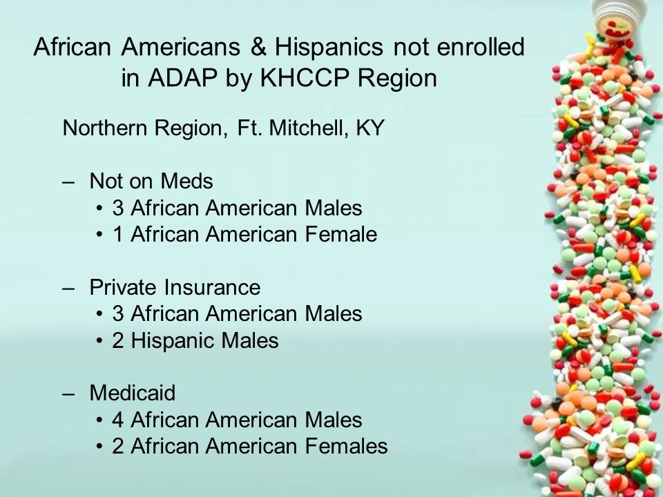 African Americans & Hispanics not enrolled in ADAP by KHCCP Region Northern Region, Ft.