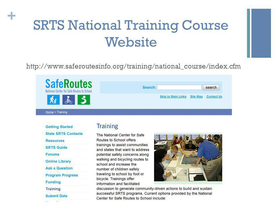+ SRTS National Training Course Website http://www.saferoutesinfo.org/training/national_course/index.cfm