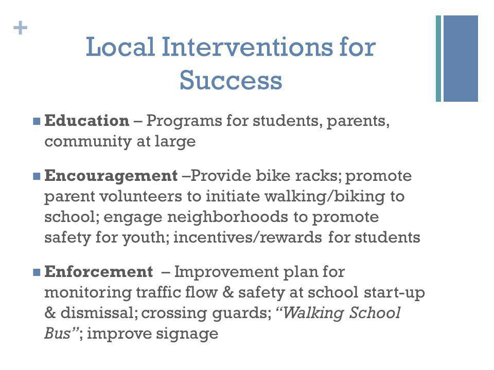 + Local Interventions for Success Education – Programs for students, parents, community at large Encouragement –Provide bike racks; promote parent volunteers to initiate walking/biking to school; engage neighborhoods to promote safety for youth; incentives/rewards for students Enforcement – Improvement plan for monitoring traffic flow & safety at school start-up & dismissal; crossing guards; Walking School Bus ; improve signage