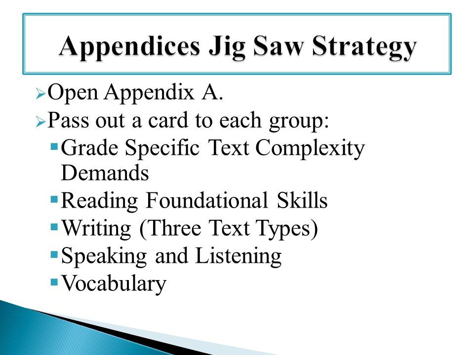 Open Appendix A.  Pass out a card to each group:  Grade Specific Text Complexity Demands  Reading Foundational Skills  Writing (Three Text Types
