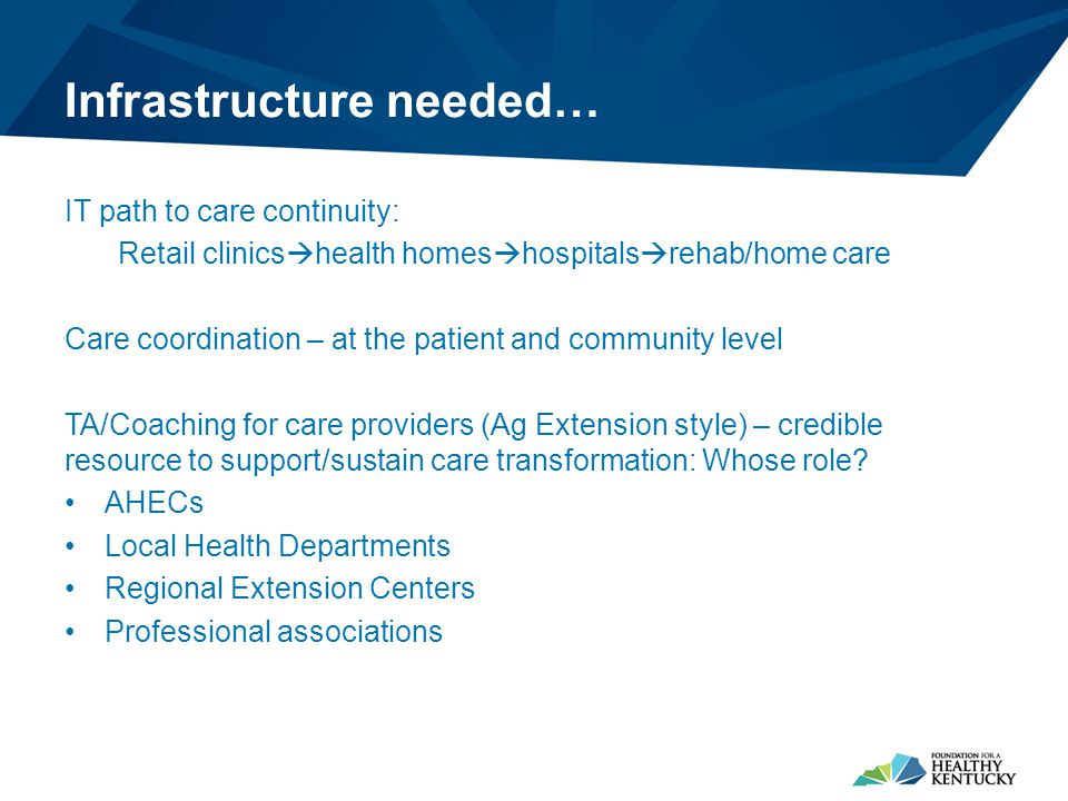 Infrastructure needed… IT path to care continuity: Retail clinics  health homes  hospitals  rehab/home care Care coordination – at the patient and community level TA/Coaching for care providers (Ag Extension style) – credible resource to support/sustain care transformation: Whose role.