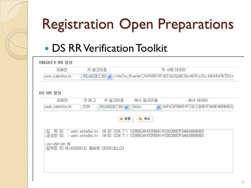 Registration Open Preparations DS RR Verification Toolkit 10