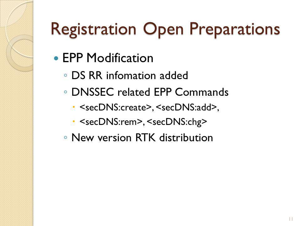 Registration Open Preparations EPP Modification ◦ DS RR infomation added ◦ DNSSEC related EPP Commands ,, , ◦ New version RTK distribution 11