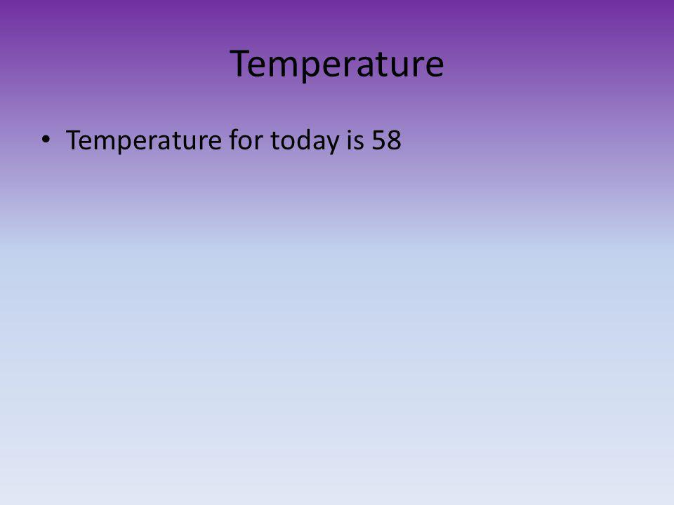 Temperature Temperature for today is 58