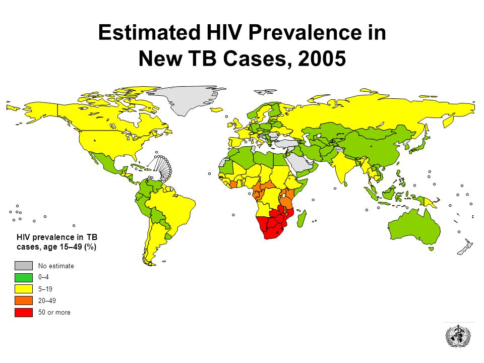 Estimated HIV Prevalence in New TB Cases, 2005 No estimate 0–4 20–49 50 or more 5–19 HIV prevalence in TB cases, age 15–49 (%)
