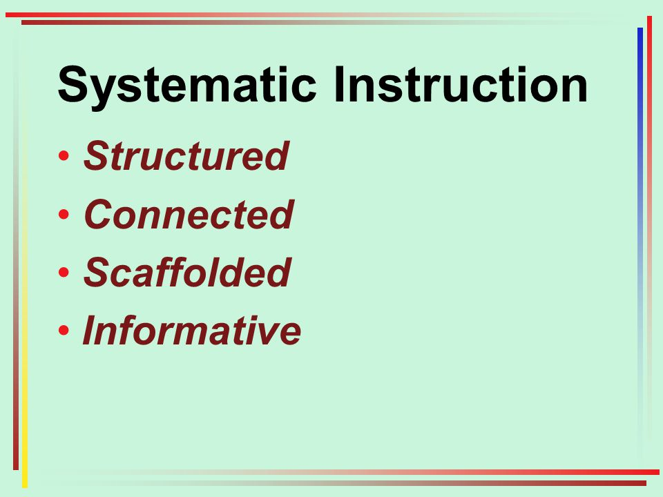Systematic Instruction Structured Connected Scaffolded Informative
