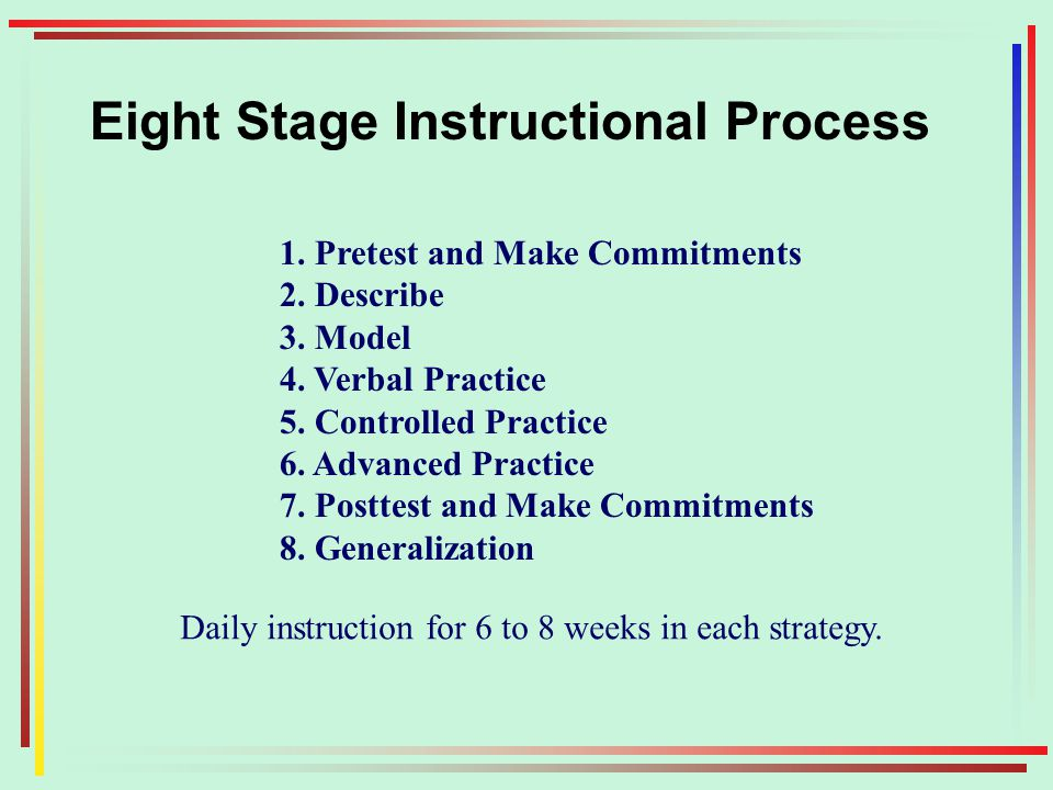 Eight Stage Instructional Process 1. Pretest and Make Commitments 2.
