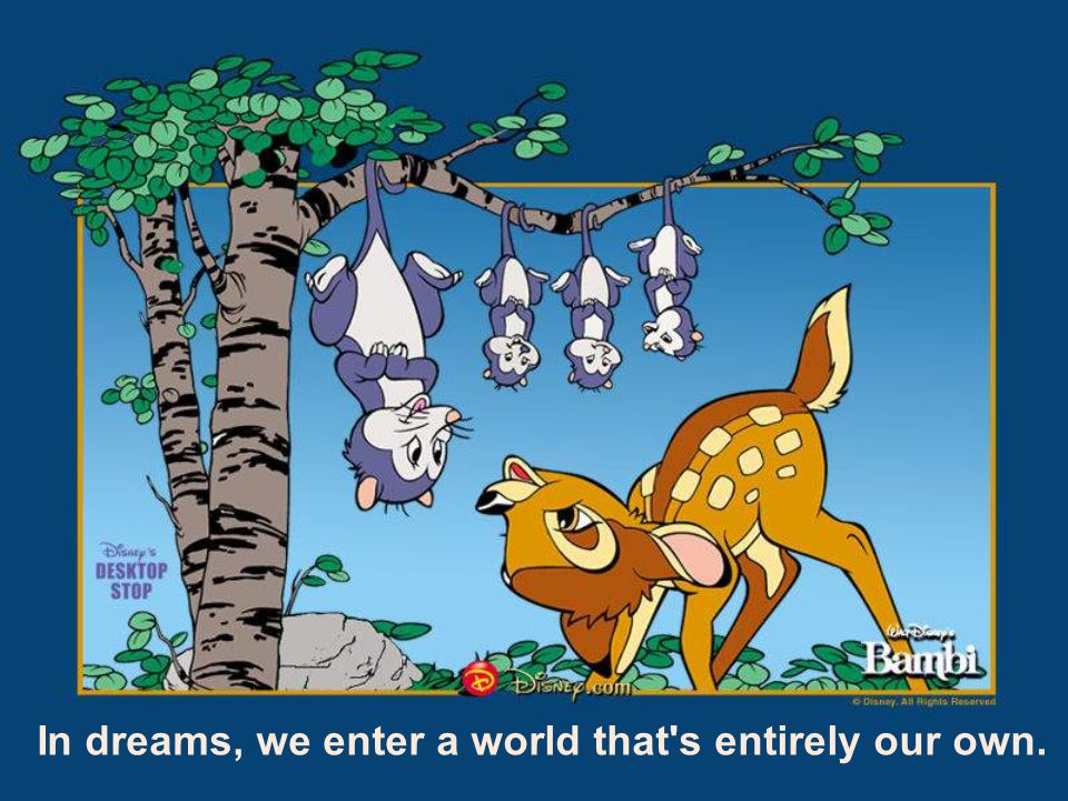 In dreams, we enter a world that's entirely our own.