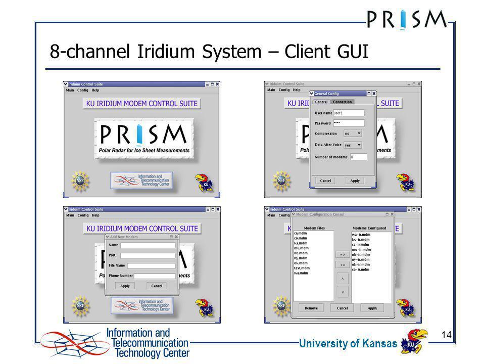 University of Kansas 14 8-channel Iridium System – Client GUI