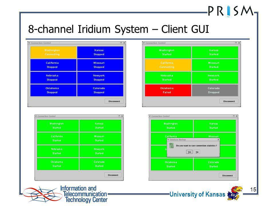 University of Kansas 15 8-channel Iridium System – Client GUI