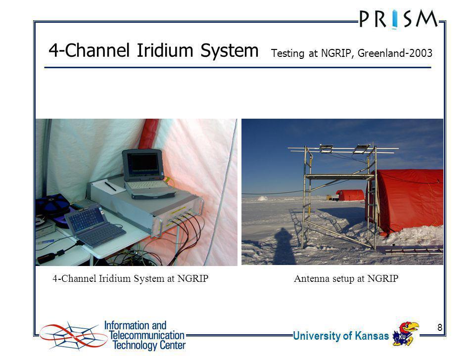 University of Kansas 8 4-Channel Iridium System Testing at NGRIP, Greenland-2003 4-Channel Iridium System at NGRIPAntenna setup at NGRIP