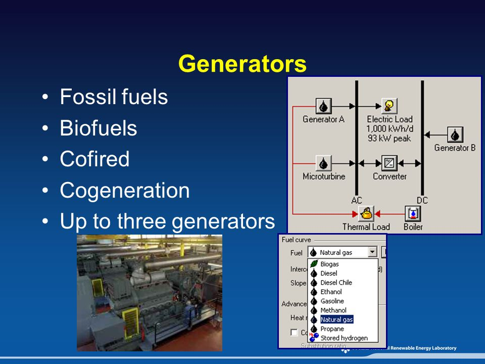 Generators Fossil fuels Biofuels Cofired Cogeneration Up to three generators