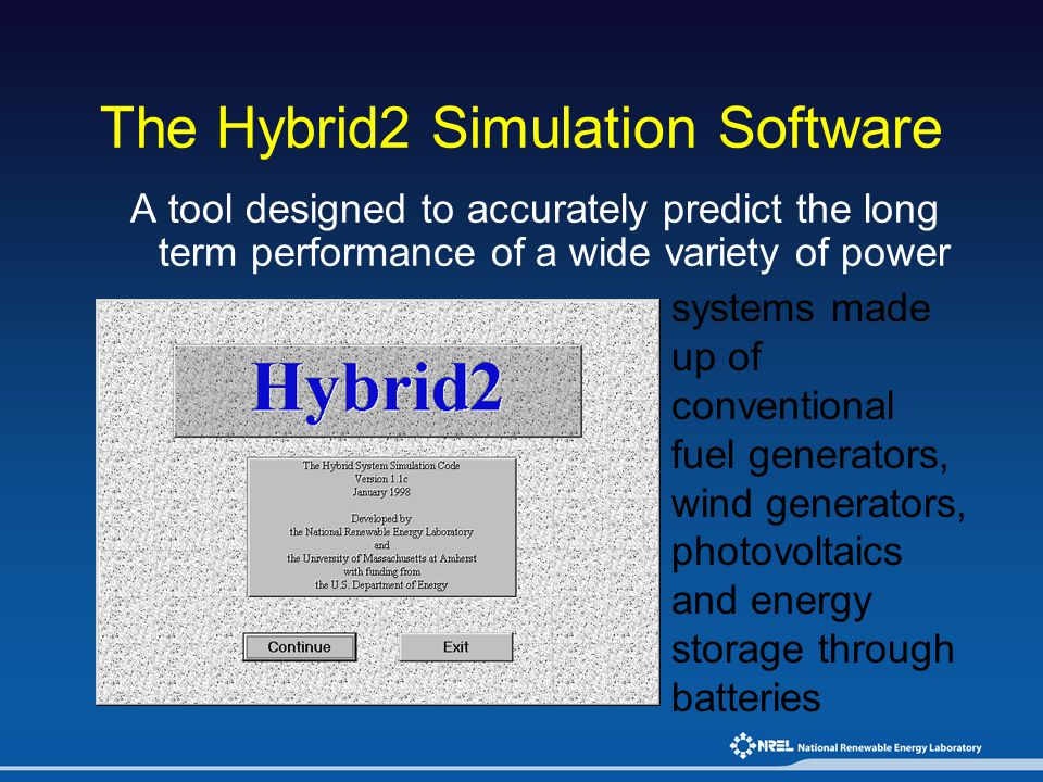 The Hybrid2 Simulation Software A tool designed to accurately predict the long term performance of a wide variety of power systems made up of conventi