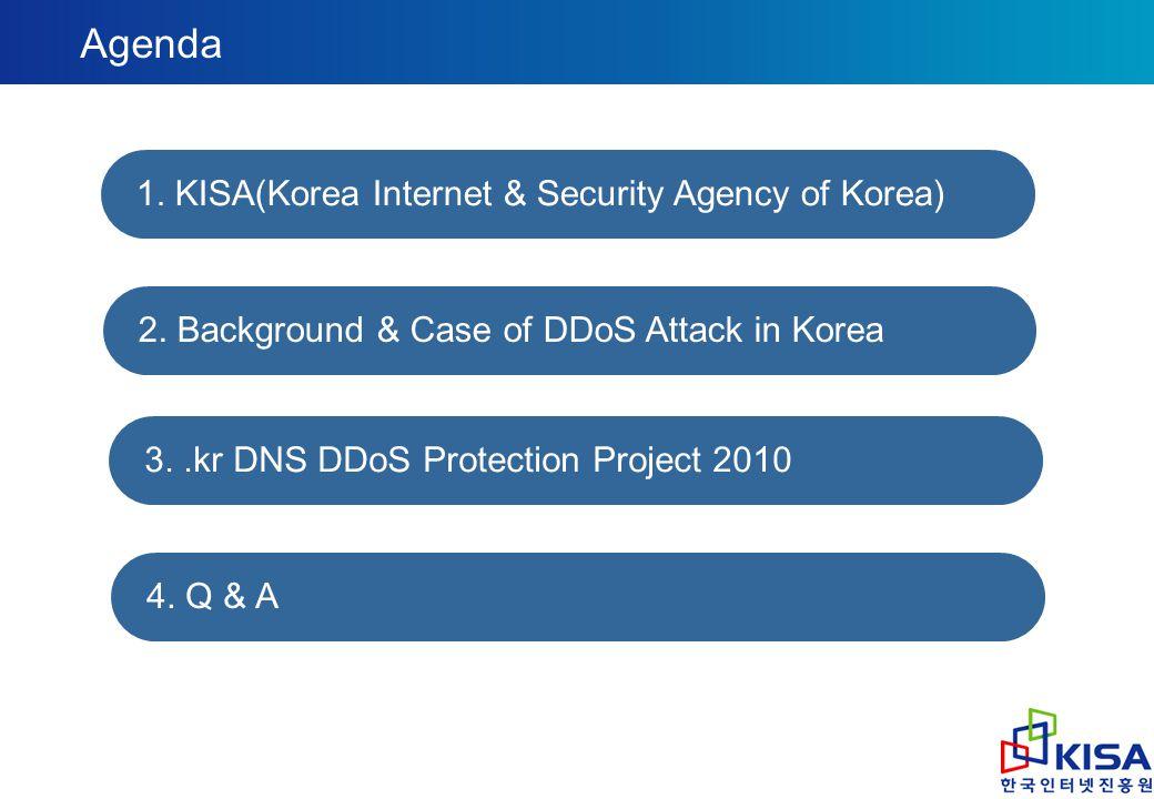 Agenda 1. KISA(Korea Internet & Security Agency of Korea) 2. Background & Case of DDoS Attack in Korea 3..kr DNS DDoS Protection Project 2010 4. Q & A
