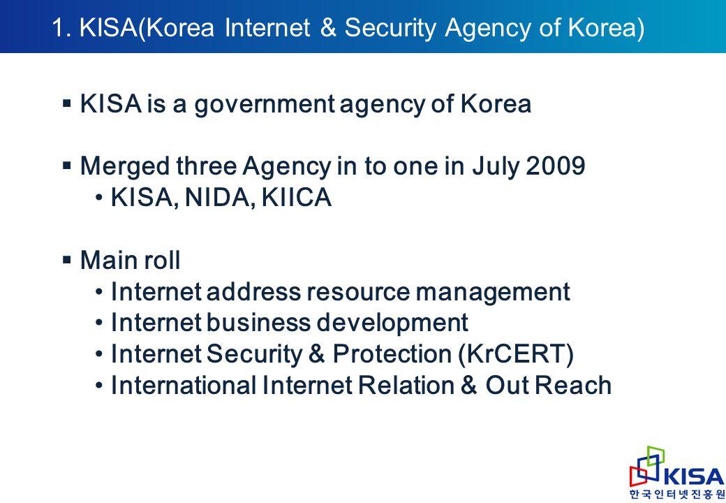 1. KISA(Korea Internet & Security Agency of Korea)  KISA is a government agency of Korea  Merged three Agency in to one in July 2009 KISA, NIDA, KII