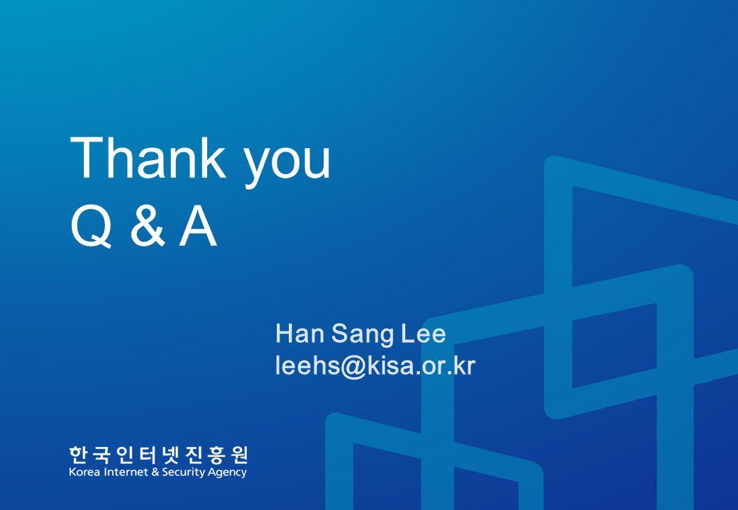 Thank you Q & A Han Sang Lee leehs@kisa.or.kr