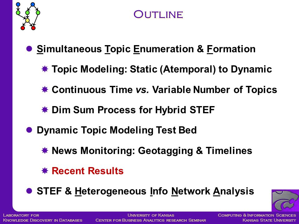 Computing & Information Sciences Kansas State University University of Kansas Center for Business Analytics research Seminar Laboratory for Knowledge Discovery in Databases Simultaneous Topic Enumeration & Formation  Topic Modeling: Static (Atemporal) to Dynamic  Continuous Time vs.