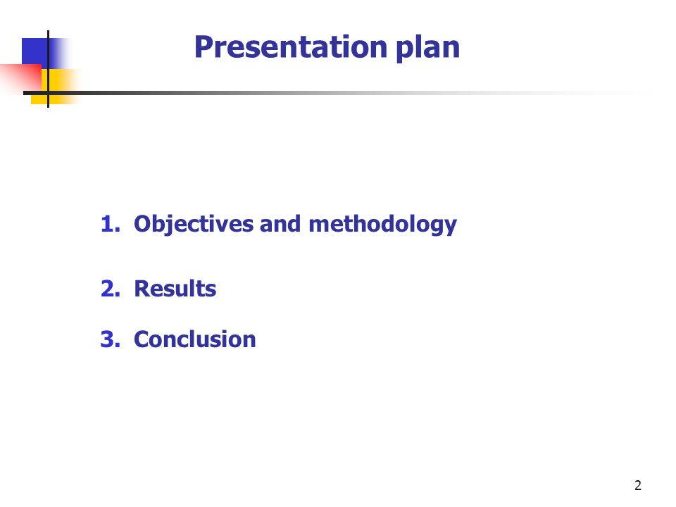 2 Presentation plan 1.Objectives and methodology 2.Results 3.Conclusion