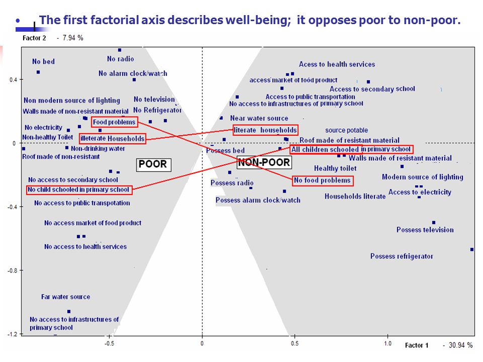 5 The first factorial axis describes well-being; it opposes poor to non-poor.