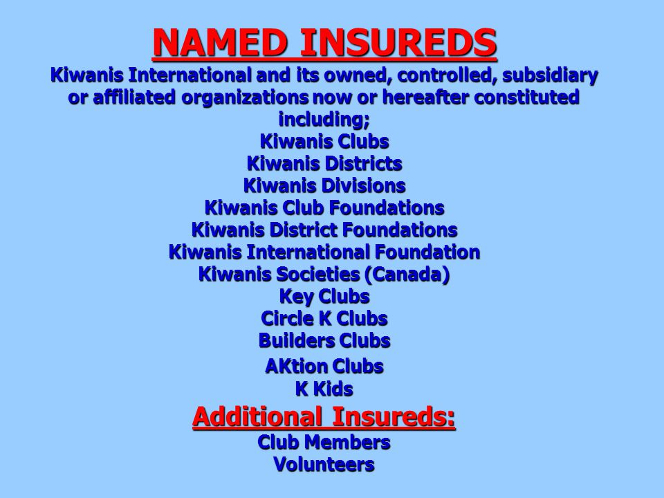 NAMED INSUREDS Kiwanis International and its owned, controlled, subsidiary or affiliated organizations now or hereafter constituted including; Kiwanis Clubs Kiwanis Districts Kiwanis Divisions Kiwanis Club Foundations Kiwanis District Foundations Kiwanis International Foundation Kiwanis Societies (Canada) Key Clubs Circle K Clubs Builders Clubs AKtion Clubs K Kids Additional Insureds: Club Members Volunteers