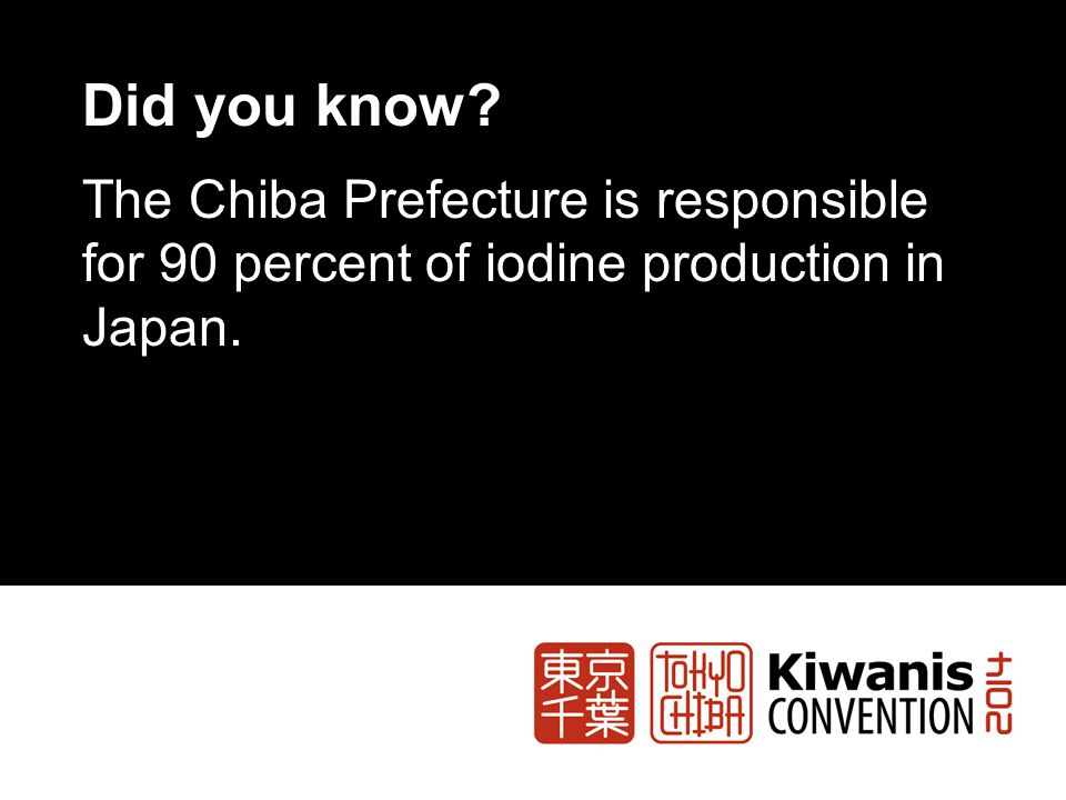 Did you know? The Chiba Prefecture is responsible for 90 percent of iodine production in Japan.