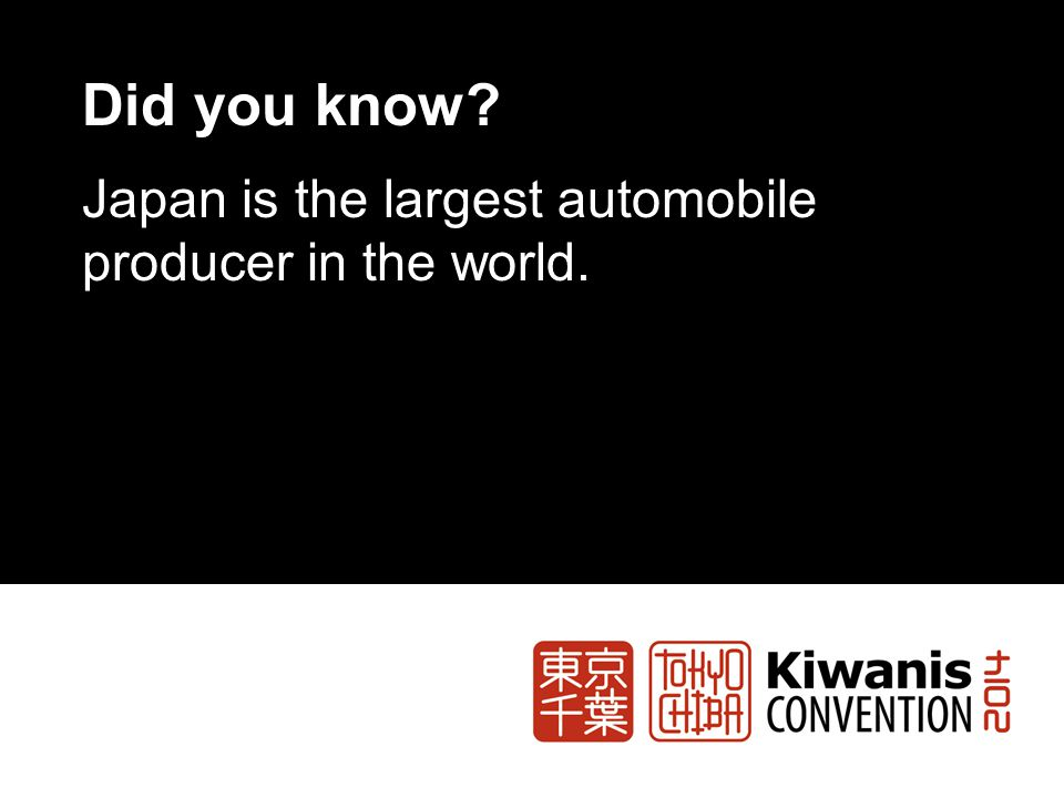 Did you know? Japan is the largest automobile producer in the world.