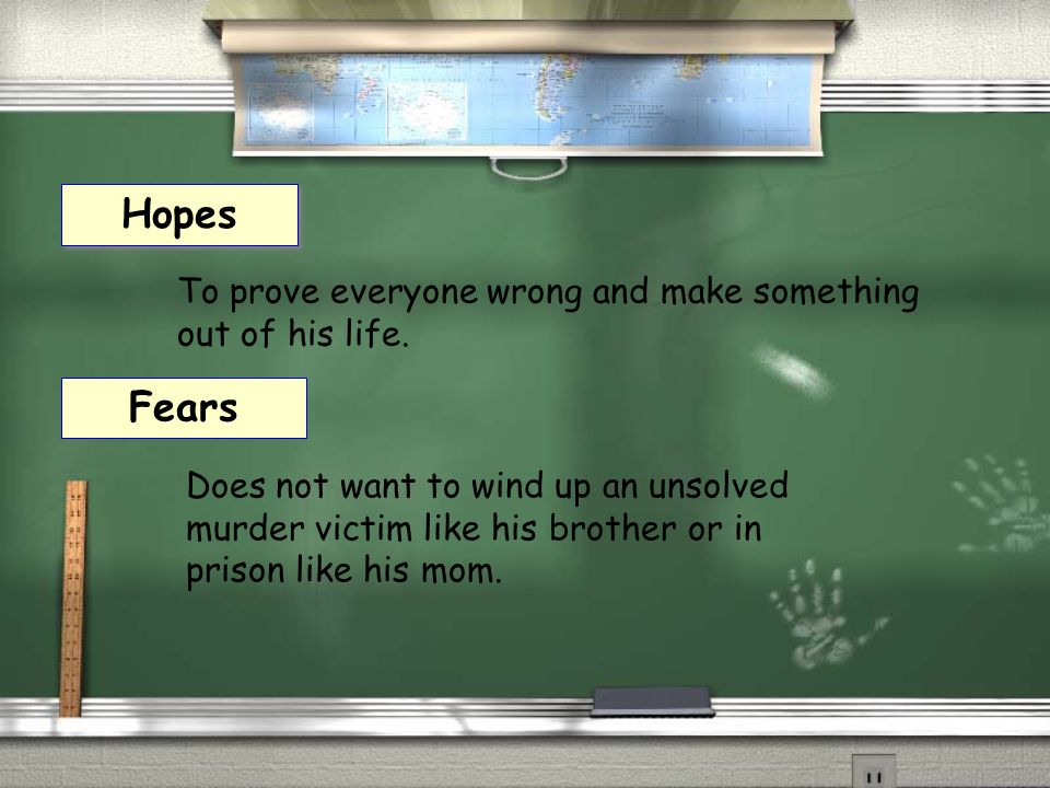 Fears Hopes Does not want to wind up an unsolved murder victim like his brother or in prison like his mom. To prove everyone wrong and make something