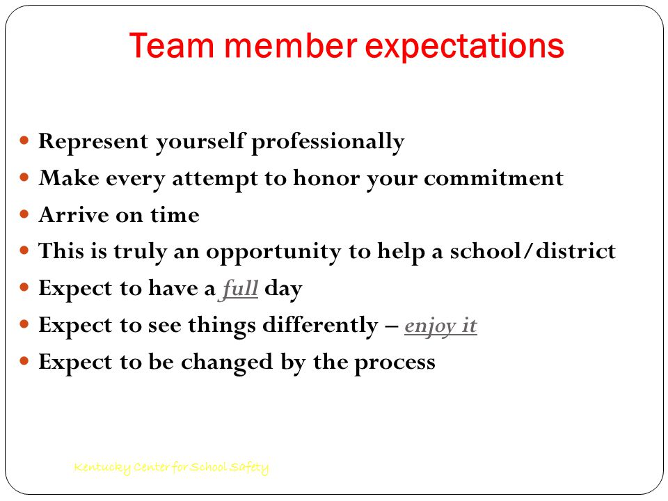 Kentucky Center for School Safety Team member expectations Represent yourself professionally Make every attempt to honor your commitment Arrive on time This is truly an opportunity to help a school/district Expect to have a full day Expect to see things differently – enjoy it Expect to be changed by the process