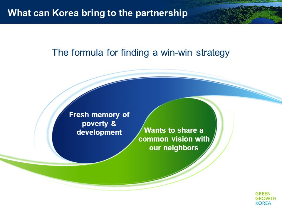 Wants to share a common vision with our neighbors What can Korea bring to the partnership The formula for finding a win-win strategy Fresh memory of poverty & development