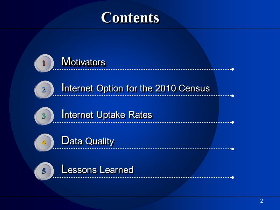 2 Contents M otivators 1 I nternet Option for the 2010 Census 2 I nternet Uptake Rates 3 D ata Quality 4 L essons Learned 5