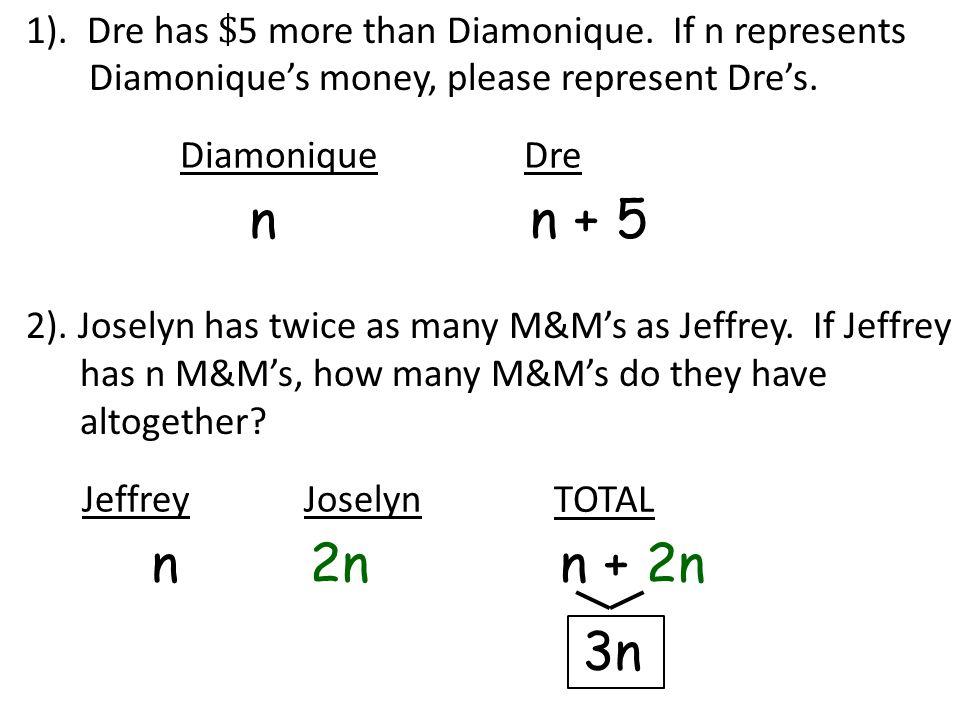 1). Dre has $ 5 more than Diamonique. If n represents Diamonique's money, please represent Dre's. DiamoniqueDre n n + 5 2). Joselyn has twice as many
