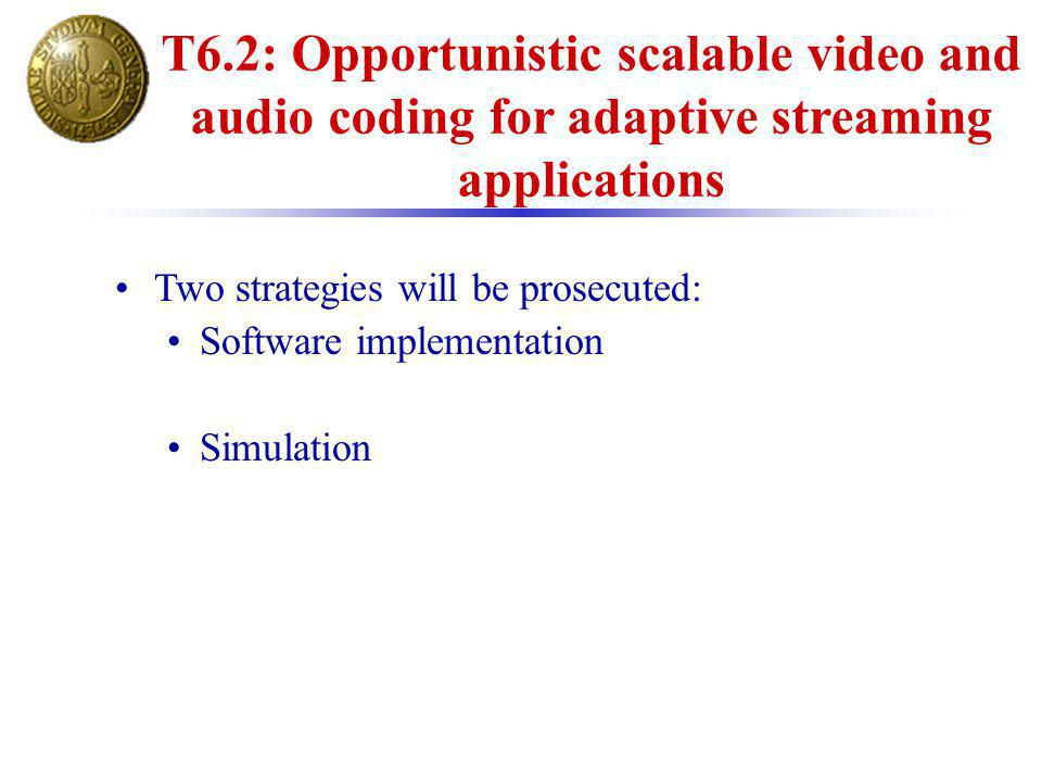 T6.2: Opportunistic scalable video and audio coding for adaptive streaming applications Two strategies will be prosecuted: Software implementation Sim