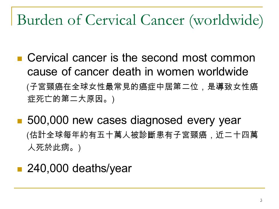 4 Burden of Cervical Cancer (HK) Cervical cancer ranked as the eighth most common cause of female cancer death ( 子宮頸癌在香港女性最常見的癌症中居第八位。 ) >400 new cases reported, resulting in 128 deaths in 2004 ( 每年有超過四百名女性被診斷患上此癌症。在二零零四年,共 有一百二十八名女性死於子宮頸癌。 )
