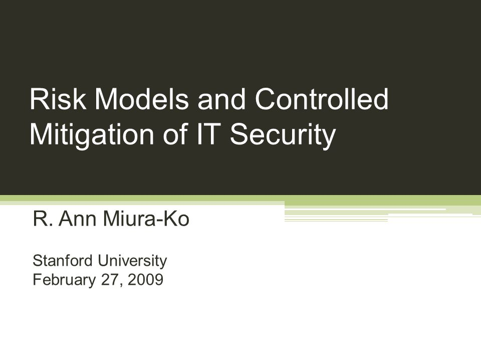 Risk Models and Controlled Mitigation of IT Security R.
