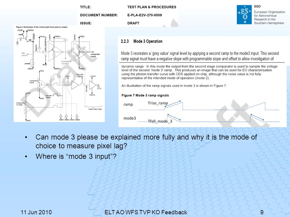 """Can mode 3 please be explained more fully and why it is the mode of choice to measure pixel lag? Where is """"mode 3 input""""? 11 Jun 2010ELT AO WFS TVP KO"""