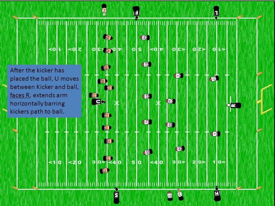 3658216874126454898884 C 36 8 21 68 74 12 64 54 89 88 84 C 8 After the kicker has placed the ball, U moves between Kicker and ball, faces R, extends arm horizontally barring kickers path to ball.