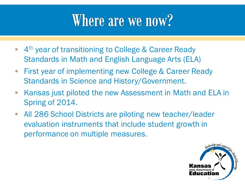  4 th year of transitioning to College & Career Ready Standards in Math and English Language Arts (ELA)  First year of implementing new College & Ca