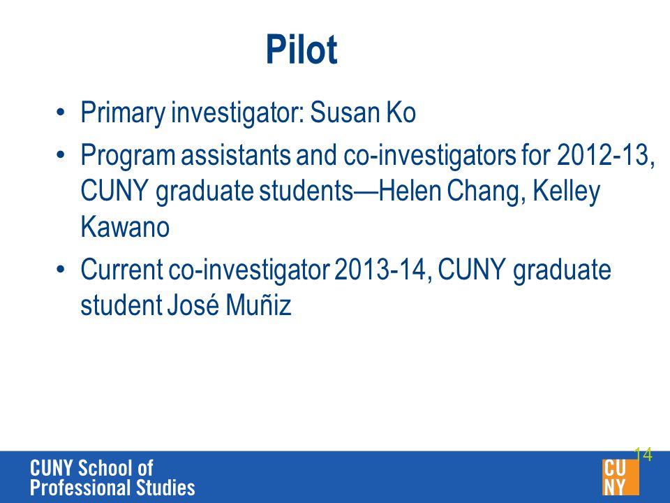 Pilot Primary investigator: Susan Ko Program assistants and co-investigators for 2012-13, CUNY graduate students—Helen Chang, Kelley Kawano Current co-investigator 2013-14, CUNY graduate student José Muñiz 14