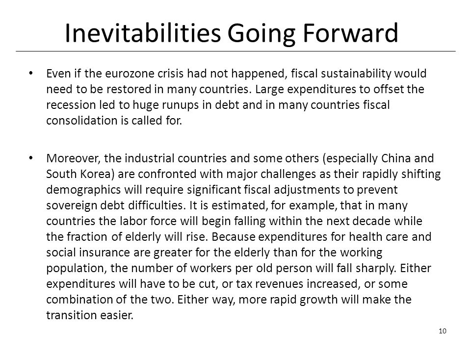 Inevitabilities Going Forward Even if the eurozone crisis had not happened, fiscal sustainability would need to be restored in many countries.