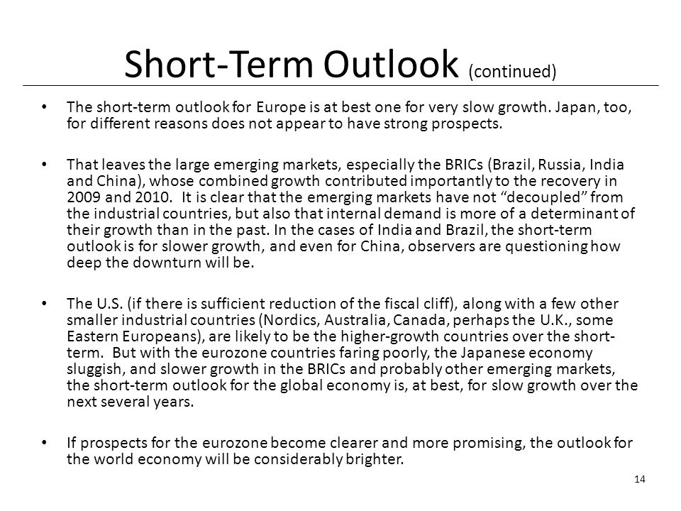 Short-Term Outlook (continued) The short-term outlook for Europe is at best one for very slow growth.