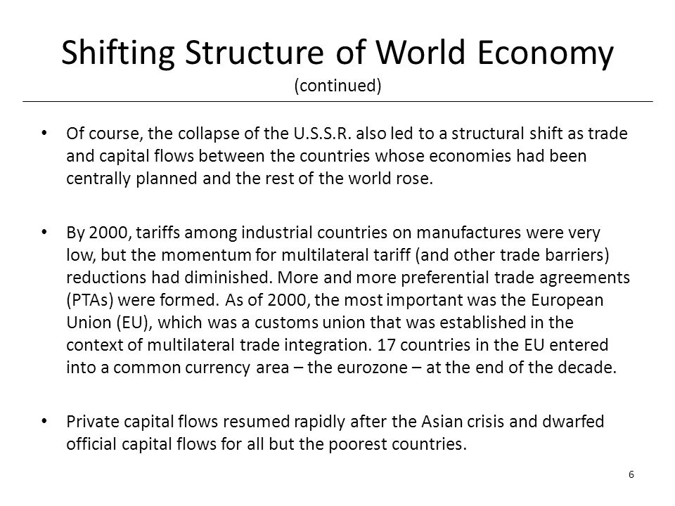 Shifting Structure of World Economy (continued) Of course, the collapse of the U.S.S.R.