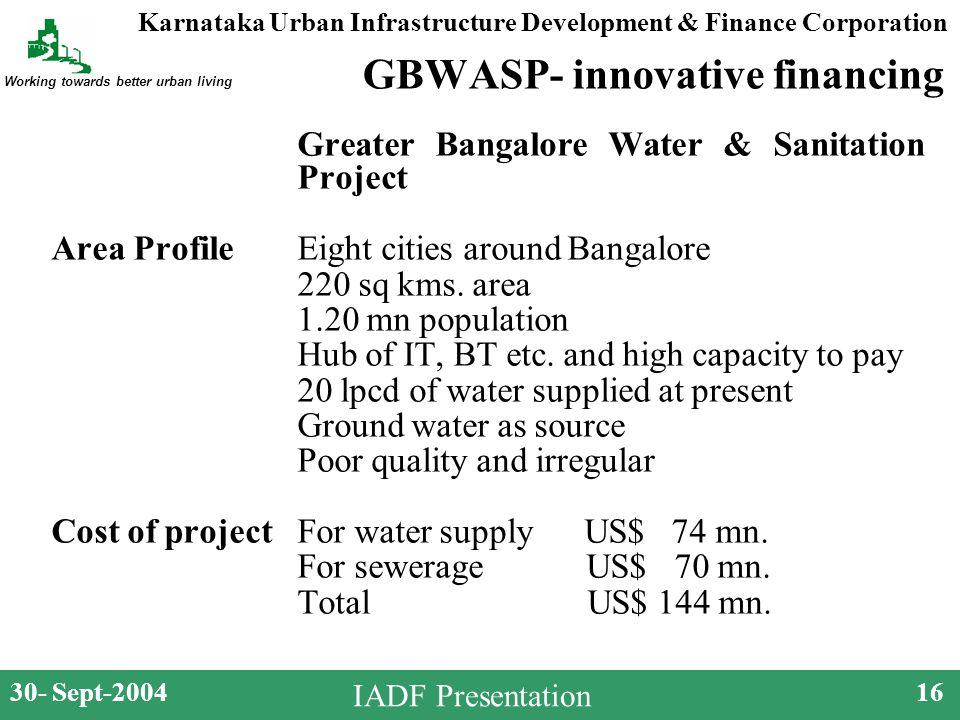 Karnataka Urban Infrastructure Development & Finance Corporation Working towards better urban living 30- Sept-200416 IADF Presentation GBWASP- innovative financing Greater Bangalore Water & Sanitation Project Area Profile Eight cities around Bangalore 220 sq kms.